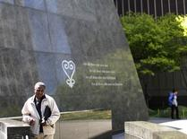 A man walks through the African Burial Ground National Monument in New York in his May 3, 2013 file photo.   REUTERS/Brendan McDermid/Files