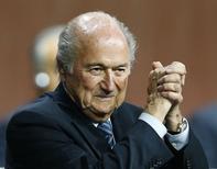 Presidente da Fifa, Joseph Blatter, durante evento em Zurique.   29/05/2015          REUTERS/Arnd Wiegmann