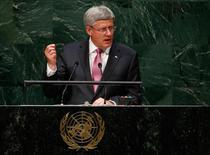 Stephen Harper, Prime Minister of Canada, addresses the 69th United Nations General Assembly at the U.N. headquarters in New York September 25, 2014.                       REUTERS/Lucas Jackson