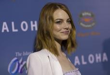 "Cast member Emma Stone poses at a special screening of ""Aloha"" in West Hollywood, California May 27, 2015. The movie opens in the U.S. on May 29.  REUTERS/Mario Anzuoni"