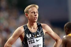 Galen Rupp places third in the mens' 5000 meter run with at me of 13:12.36 at Hayward Field. Mandatory Credit: Scott Olmos-USA TODAY Sports
