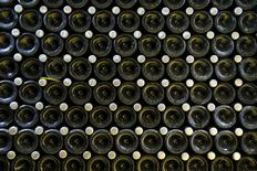 Bottles of maturing wine are pictured in the Kovacevic Winery in the town of Irig, Serbia, May 8, 2015.  REUTERS/Marko Djurica