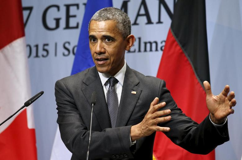 U.S. President Barack Obama in Bavarian, Germany on June 8, 2015.  REUTERS/Kevin Lamarque