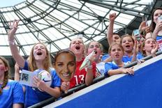 May 30, 2015; Harrison, NJ, USA; Fans cheer as team USA comes out for warmups before a game against the Korea Republic at Red Bull Arena. Mandatory Credit: Brad Penner-USA TODAY Sports