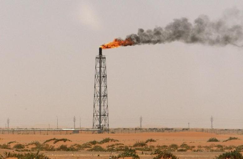 A gas flame is seen in the desert near the Khurais oilfield, about 160 km (99 miles) from Riyadh, June 23, 2008. REUTERS/Ali Jarekji