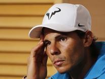 Rafael Nadal participa de coletiva em Paris.  3/6/2015.             REUTERS/Jean-Paul Pelissier