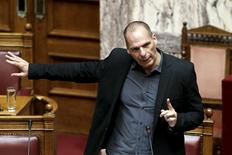 Greek Finance Minister Yanis Varoufakis answers a question during a parliamentary session in Athens June 11, 2015. REUTERS/Alkis Konstantinidis