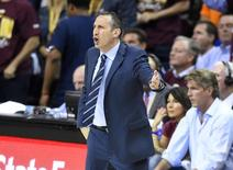 Jun 9, 2015; Cleveland, OH, USA; Cleveland Cavaliers head coach David Blatt reacts during the first quarter of game three of the NBA Finals against the Golden State Warriors t Quicken Loans Arena. Mandatory Credit: David Richard-USA TODAY Sports