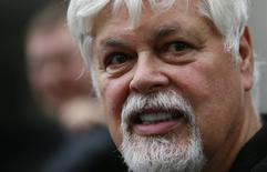 Environmentalist and founder of Sea Shepherd, Paul Watson talks to media and friends after he was released from prison in Frankfurt, May 21, 2012.  REUTERS/Kai Pfaffenbach