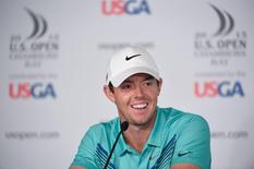 Jun 16, 2015; University Place, WA, USA; Rory McIlroy addresses the media in a press conference during practice rounds on Tuesday at Chambers Bay. Mandatory Credit: John David Mercer-USA TODAY Sports