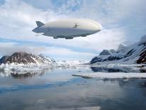 An artist rendering of a Hybrid Airship,  a new type of aircraft that company officials say could revolutionize the way oil and mining companies haul equipment to the Arctic and other remote areas without roads.  REUTERS/Lockheed Martin