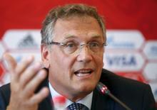Secretário-geral da Fifa, Jérôme Valcke, concede entrevista coletiva em Samara, na Rússia. 10/06/2015 REUTERS/Maxim Zmeyev
