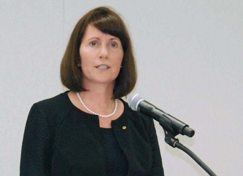 Toyota Motor Corp's Managing Officer and Chief Communications Officer Julie Hamp speaks to media during a news conference in  Nagoya, central Japan, in this photo taken by Kyodo June 17, 2015 and released by Kyodo on June 18, 2015. REUTERS/Kyodo