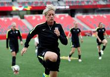 Jun 25, 2015; Ottawa, Ontario, CAN; United States forward Abby Wambach warms up during a training session for the 2015 Women's World Cup at Lansdowne Stadium.  Michael Chow-USA TODAY Sports