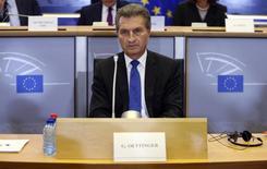 Comissário da Alemanha na UE, Guenther Oettinger, durante sessão em Bruxelas.  29/07/2014   REUTERS/Francois Lenoir