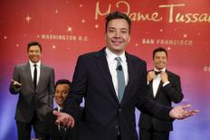 TV host Jimmy Fallon poses with his wax figures at Madame Tussauds museum in the Manhattan borough of New York March 27, 2015.  REUTERS/Shannon Stapleton