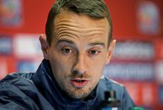 Jun 12, 2015; Moncton, New Brunswick, CAN;  England head coach Mark Sampson replies to question from the media during a press conference at Moncton Stadium. Mandatory Credit: Matt Kryger-USA TODAY Sports
