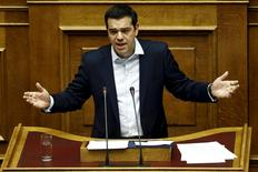 Greek Prime Minister Alexis Tsipras delivers a speech during a parliamentary session in Athens, Greece June 28, 2015.  REUTERS/Alkis Konstantinidis