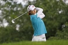 LPGA golfer Na Yeon Choi (KOR) hits her tee shot on the seventeenth hole during the final round of the Canadian Pacific Women's Open golf tournament at London Hunt and Country Club. Mandatory Credit: Raj Mehta-USA TODAY Sports