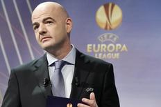 UEFA General Secretary Gianni Infantino speaks during the Europa League quarter-final draw at the UEFA headquarters in Nyon, March 20, 2015.  REUTERS/Pierre Albouy