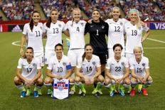 Jun 30, 2015; Montreal, Quebec, CAN; The United States starters pose for a team photo prior to the semifinals of the FIFA 2015 Women's World Cup against Germany at Olympic Stadium. Mandatory Credit: Michael Chow-USA TODAY Sports