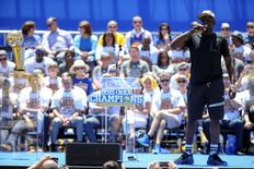 Golden State Warriors forward Draymond Green (23) speaks during the Golden State Warriors 2015 championship celebration at the Henry J. Kaiser Convention Center. Kelley L Cox-USA TODAY Sports