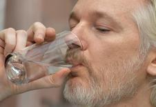 Fundador do Wikileaks, Julian Assange, durante entrevista na embaixada do Equador em Londres.  18/08/2014   REUTERS/John Stillwell/pool