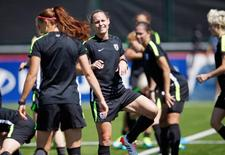 Jul 3, 2015; Vancouver, BC, CAN; United States defender Christie Rampone warms up during a training session for the 2015 Women's World Cup at Empire Field South. Michael Chow-USA TODAY Sports