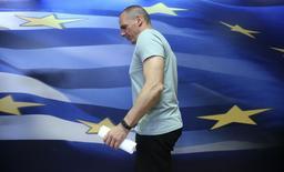 Ministro das Finanças grego, Yanis Varoufakis, durante discurso em Atenas.  05/07/2015    REUTERS/Alkis Konstantinidis