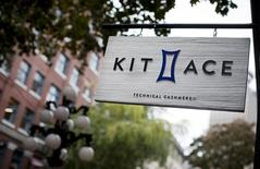 A sign hangs outside the Kit and Ace flagship store in Vancouver, British Columbia October 17, 2014. REUTERS/Ben Nelms