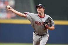 Jul 2, 2015; Atlanta, GA, USA; Washington Nationals starting pitcher Max Scherzer (31) pitches against the Atlanta Braves during the first inning at Turner Field. Mandatory Credit: Dale Zanine-USA TODAY Sports