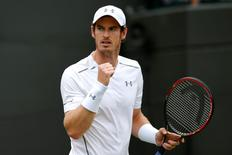 Tennis - Wimbledon - All England Lawn Tennis & Croquet Club, Wimbledon, England - 2/7/15 Men's Singles - Great Britain's Andy Murray celebrates during the second round  Mandatory Credit: Action Images / Andrew Couldridge Livepic EDITORIAL USE ONLY.