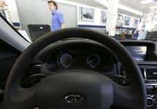 An interior view of a Lada car, produced by the Russian AvtoVAZ car maker, at a dealership in St. Petersburg, July 9, 2014. Russian car sales plunged 17.3 percent year-on-year in June, according to a lobby group for Europe's top carmakers, accelerating their recent slide and leading the group to slash its forecast for sales in the country this year by 12 percent. REUTERS/Alexander Demianchuk (RUSSIA - Tags: TRANSPORT BUSINESS)