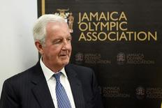 Sir Craig Reedie, president of the World Anti-Doping Agency (WADA), attends a meeting at Jamaica's Olympic Association in Kingston February 24, 2015.   REUTERS/Gilbert Bellamy