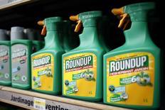 """Unas botellas del herbicida Roundup de Monsanto a la venta en una tienda de artículos de jardín en Bonneuil-Sur-Marne, Francia, jun 16 2015. Monsanto Co, el fabricante de Roundup, uno los herbicidas más usados del mundo, dijo el martes que un panel de expertos revisará los hallazgos de una investigación de la unidad de cáncer de la Organización Mundial de la Salud, que descubrió que un ingrediente clave es """"probablemente cancerígeno para los humanos"""".     REUTERS/Charles Platiau"""