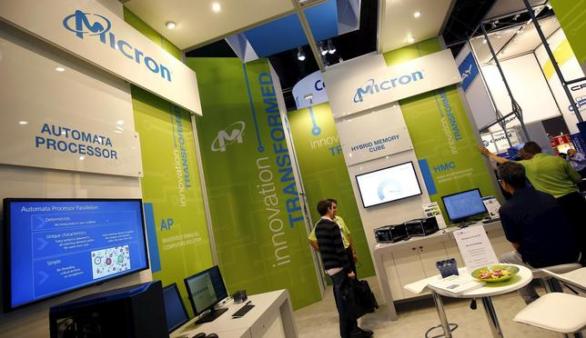 The booth of U.S. memory chip maker MicronTechnology is pictured at an industrial fair in Frankfurt, Germany,  July 14, 2015. REUTERS/Kai Pfaffenbach