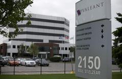 The sign of Valeant Pharmaceuticals International Inc is seen at its headquarters in Laval, Quebec May 19, 2015.   REUTERS/Christinne Muschi