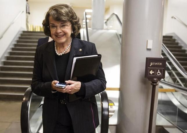 U.S. Senator Dianne Feinstein (D-CA) walks after the vote approving Loretta Lynch to be Attorney General, on Capitol Hill in Washington April 23, 2015.   REUTERS/Joshua Roberts