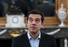 Premiê grego, Alexis Tsipras, durante cerimônia de possse de ministros no Palácio Presidencial, em Atenas. 18/07/2015 REUTERS/Alkis Konstantinidis