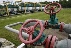 Трубы на территории ПХГ в Львовской области. 28 мая 2015 года. Министр энергетики и угольной промышленности Украины сказал, что Киеву не хватает $1 миллиарда, чтобы накопить в подземных хранилищах необходимые к середине октября 19 миллиардов кубометров газа. REUTERS/Gleb Garanich