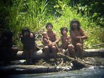 Members of the Mashco-Piro tribe observe a group of travelers from across the Alto Madre de Dios river in the Manu National Park in the Amazon basin of southeastern Peru, as photographed through a bird scope October 21, 2011.  REUTERS/Jean-Paul Van Belle