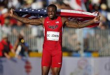 Jul 22, 2015; Toronto, Ontario, CAN; Marquise Goodwin of the United States celebrates after placing second in the men's athletics long jump final during the 2015 Pan Am Games at CIBC Pan Am Athletics Stadium. Mandatory Credit: Erich Schlegel-USA TODAY Sports