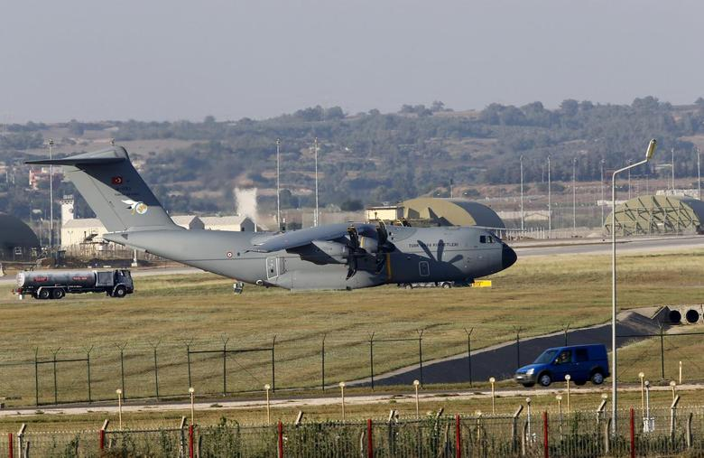 A Turkish Air Force A400M tactical transport aircraft is parked at Incirlik airbase in the southern city of Adana, Turkey, July 24, 2015. Turkey has agreed to allow U.S. planes to launch air strikes against Islamic State militants from the U.S. air base at Incirlik, close to the Syrian border, U.S. defense officials said on Thursday.  REUTERS/Murad Sezer