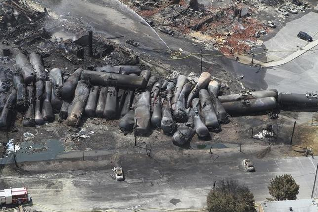 An aerial view of burnt train cars after a train derailment and explosion in Lac-Megantic, Quebec July 8, 2013, in this picture provided by the Transportation Safety Board of Canada.  REUTERS/Transportation Safety Board of Canada/Handout via Reuters