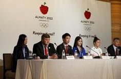 Kazakstan's bid team speak at a news conference about Almaty's bid for the 2022 Winter Olympic Games, in Kuala Lumpur, Malaysia, July 29, 2015. REUTERS/Olivia Harris