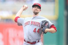 Jun 24, 2015; Pittsburgh, PA, USA; Cincinnati Reds starting pitcher Mike Leake (44) delivers a pitch against the Pittsburgh Pirates during the first inning at PNC Park. Mandatory Credit: Charles LeClaire-USA TODAY Sports
