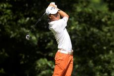 Ryo Ishikawa tees off on the 11th hole in the second round of the Quicken Loans National golf tournament at Robert Trent Jones Golf Club. Mandatory Credit: Rafael Suanes-USA TODAY Sports
