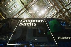 A Goldman Sachs sign is seen above the floor of the New York Stock Exchange   REUTERS/Lucas Jackson