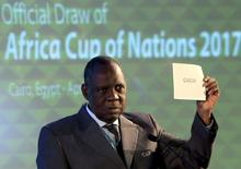 Confederation of African Football (CAF) President Issa Hayatou announces Gabon as host of the 2017 African Cup of Nations during a CAF executive committee meeting in Cairo April 8, 2015. REUTERS/Mohamed Abd El Ghany