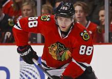 Chicago Blackhawks right wing Patrick Kane is seen during the first period against the Toronto Maple Leafs at United Center in Chicago, in this file photo taken December 21, 2014.  Mandatory Credit: Kamil Krzaczynski-USA TODAY Sports/Files